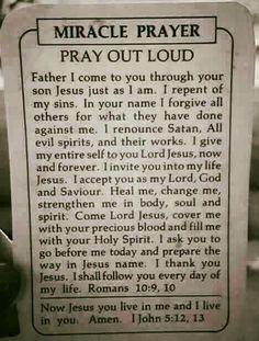 Miracle Prayer in Christ Jesus (Yeshua) Name Prayer Scriptures, Bible Prayers, Faith Prayer, God Prayer, Prayer Quotes, Power Of Prayer, Spiritual Quotes, Bible Quotes, Bible Verses