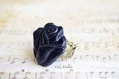 Black rosy adjustable ring ceramic romantic  by CocoFlowerShop