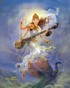 Goddess of Knowledge Sarswathi descending from heaven '' sorry for water mark its because of art thieves ( they are many fathers. Sarswathi descending from heaven Saraswati Painting, Krishna Painting, Krishna Art, Durga Maa Paintings, Saraswati Goddess, Goddess Art, Lord Saraswati, Indian Women Painting, Indian Paintings