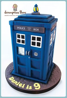 Dr Who TARDIS Birthday Cake, Scrumptious Buns, UK