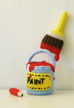 cute crochet paint, brush, & pencil.