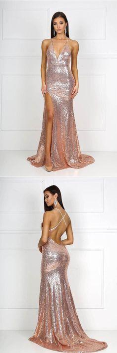 0af4a5aef13 Mermaid Halter V-neck Long Sequined Prom Dresses with Split PG686