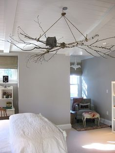 "I'm liking this idea for ceiling ""art"" in the bedroom (minus the bird house)."