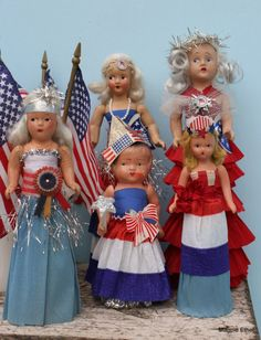Vintage dolls with new patriotic dresses - from Magpie Ethel