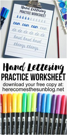 00 Hand Lettering Practice Worksheet – I Can Do Hard Things This hand lettering practice worksheet is great for beginners and experienced artists! Learning to hand letter is not as hard as you think. Hand Lettering For Beginners, Hand Lettering Practice, Hand Lettering Tutorial, Calligraphy Practice, Calligraphy Letters, Brush Lettering, Calligraphy For Beginners Worksheets, Calligraphy Tutorial, Hobbies To Try
