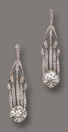 A pair of Belle Époque diamond pendant earrings , circa 1900. #BelleEpoque #earrings                                                                                                                                                     More
