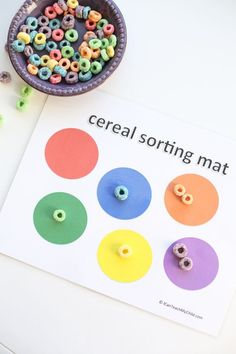 Printable Cereal Sorting Mat: Super simple cognitive development activity for toddlers and preschoolers!
