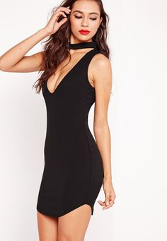 Little black dresses are a girl's saviour. This black dress will get everyone talking this weekend. Featuring an on trend high neck and a daring plunge neckline, you'll be looking smokin'. Team this beauty with lace up heels and a matching ...
