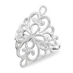 Polished Ornate Filigree Ring