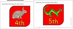 Here's a set of ordinal number cards using the animals of the Chinese zodiac. Ordinal Numbers, Visual Aids, Chinese Zodiac, Gravity Falls, Teacher, Cards, Animals, Professor, Animales