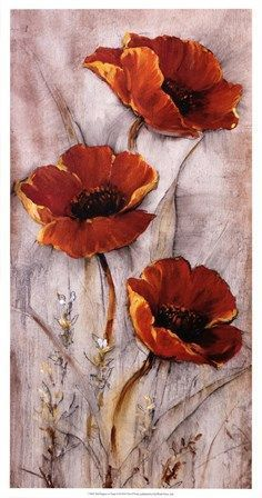 Red Poppies on Taupe II by Timothy O'Toole art print Les coquelicots rouges sur taupe II de Timothy O'Tope; Abstract Flowers, Watercolor Flowers, Watercolor Art, Poppies Painting, Painting Abstract, Abstract Canvas, Easy Flower Painting, Flower Art, Flower Paintings
