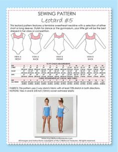 This leotard pattern features a feminine sweetheart neckline with a selection of either short or long sleeves. Stylish for dance or the gym,