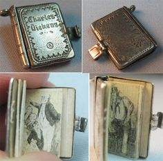 Vintage Charles Dickens miniature silver book charm