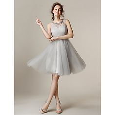 Lanting Knee-length Tulle Bridesmaid Dress - Silver Plus Sizes / Petite A-line / Princess Jewel - USD $ 84.98