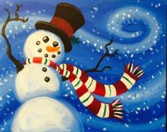 Snowy Breeze painting and wine class at Pinot's Palette
