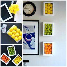 Des tableaux décoratifs pour la cuisine avec des fruits en plastique