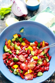 Red Kidney Bean Summer Salad with Feta-mixed in the bowl Mini Sweet Peppers, Stuffed Sweet Peppers, Red Kidney Beans Recipe, Bean Recipes, Healthy Recipes, Side Salad Recipes, Summer Side Dishes, Vegetable Salad