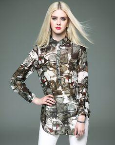 #VIPme 💋Black Print Long Chiffon Shirt with Side Split. Get more fashion inspiration at VIPme.com.
