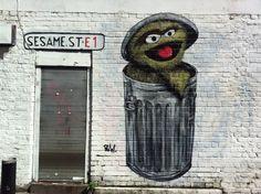 Oscar from Sesame street - Brick Lane, London, E1