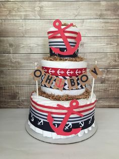 Nautical Baby Diaper Cake in Navy and Red Nautical Baby