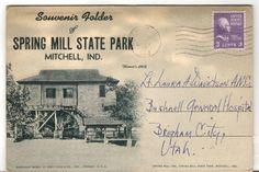 1944 Postmarked Postcard Souvenir Folder Spring Mill State Park Mitchell IN