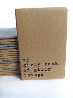 my girly book of girly things  screen printed by Alfamarama