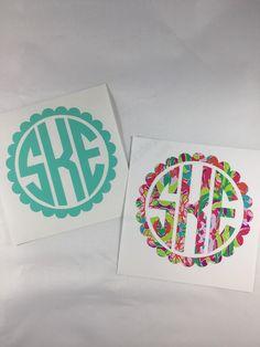 $3+ Vinyl Circle Monogram Decal Personalized Decal by SSMonogramShop