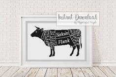 Cow Meat Cuts Cross Stitch Pattern Chart by PeppermintPurple