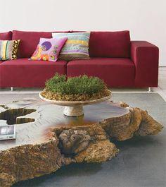 Decorando com móveis de madeira bruta
