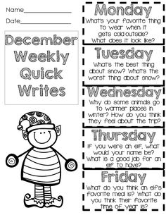 December quick writes - fun prompts - one sheet for the week! $