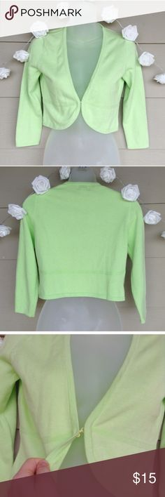 Lilly Pulitzer : Green Cropped Cardigan 3/4 Sleeve Lilly Pulitzer : Green Cropped Cardigan   --Size: XS --In great condition! --Beautiful bright green color. Mini/Cropped style. Hook closure at front as shown.  --Measurements: 16in(Long) / 16in(Bust) / 17.75(Sleeve length)  --100% Cotton  ??Questions??-- Please ask!  [D] Lilly Pulitzer Sweaters Cardigans