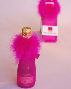 fun, furry, & colorful decorations for mini champagne bottles. would be perfect for bridal shower/bachelorette party Sister Wedding, Friend Wedding, Dream Wedding, Bachlorette Party, Bachelorette Party Games, Wedding Reception Games, Wedding Events, Wedding Ideas, Weddings