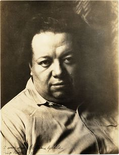 Diego Rivera (Dec 8, 1886 – Nov 24, 1957) Prominent Mexican painter & husband of Frida Kahlo. His large wall works in fresco helped establish the Mexican Mural Movement in Mexican art.  ~Repinned Via Sally Atwell Williams