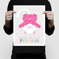 pajamas cat print  animal art wall art nursery art cat