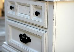 Shabby chic nightstand painted Vintage white by InspireMeDesigns