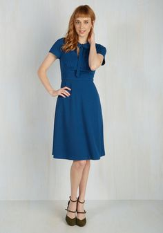 Your files show that a classic A-line dress with a retro twist will take you far in the fashion world! Part of our ModCloth namesake label, this medium blue midi flaunts a broad waistband above which a ruched bodice boasts a tied neckline and a flirty keyhole. Get ready for a record number of compliments! $90.00