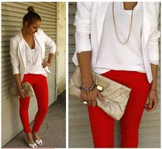 Red pant with white all over Christmas outfit... now that I live somewhere that doesnt snow Colors Pants, White Blazers, Colors Jeans, Red Jeans, Hot Pants, Black Heels, Skinny Pants, Colors Denim, Red Pants