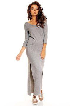 Sukienka maxi w odcieniach szarości z wiązaniem na plecach