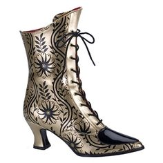 Gold/Black Victorian Style Boots for bridesmaids