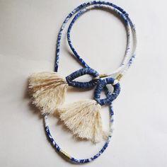 Shibori tassel rope necklace. #indigo