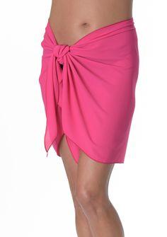 001: Solid Short Sarong O/S - Fuschia - http://beachcoverupsarongs.com/product/short-sarongs/019-contrast-solid-short-sarong-os-black-wwhite/
