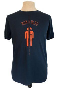 Half Man Half Nerd t-shirt, dark blue with orange print, eco friendly, fair wear, by Poor Edward