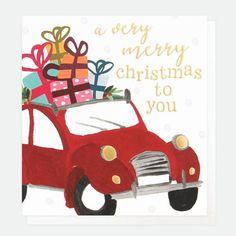 Caroline Gardner Painted Car Christmas Cards Pack of 8 - Beaumonde Christmas Card Packs, Merry Christmas To You, Diy Christmas Cards, Christmas Themes, Xmas, Driving Home For Christmas, Caroline Gardner, Car Card, Scandinavian Christmas Decorations