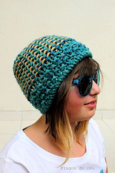 Knitted Hat  Green Knitted hat   Wool  Handmade by by pingosdoceu