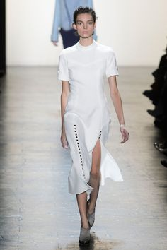 FALL 2016 RTW PRABAL GURUNG COLLECTION #NYFW16 white dress buttons military inspired