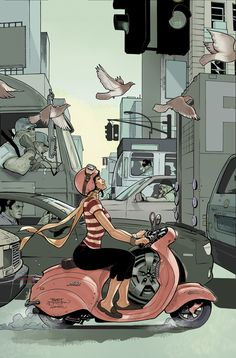 Cbldf liberty annual 5 cover - Illustrations by Terry Dodson Art Arte Art And Illustration, Illustrations, Vespa Girl, Scooter Girl, Pink Vespa, Gas Scooter, Vespa Tattoo, Comic Book Artists, Comic Books