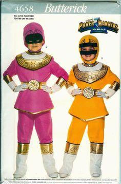 Go go girl Power Rangers! Butterick Pattern 4658 ZEO Power Ranger Costume UNCUT child 4-14 Pink Yellow Halloween #Butterick #sewing #Powerrangers
