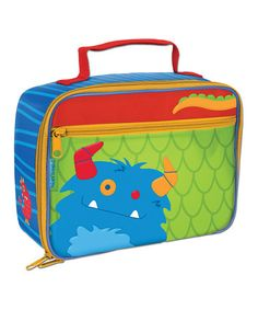 Okay, this is pretty damn cute.  All i need is a damn lunch tote to carry bottles, baby food, teethers, pacifiers, juice,  you know; just a FEW things.  Take a look at this Stephen Joseph Blue Monster Lunch Bag by Back to School: Backpacks & Lunch Bags on #zulily today!