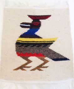 Vintage Finished Needlepoint Southwest Native American Bird Wall Hanging Mat