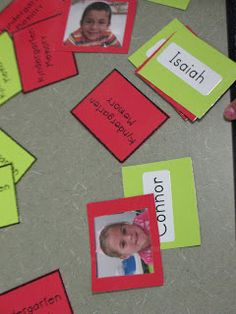 Morrow's Kindergarten: Beginning of the Year Fun! Memory Game--match the picture and name. I think this would be fun with familiar teachers, staff, school items. Kindergarten Names, Preschool Names, Beginning Of Kindergarten, Kindergarten Centers, Beginning Of The School Year, Kindergarten Literacy, Classroom Activities, Starting School, Letter Activities